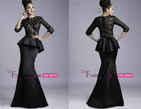 Reference Images High Neck Satin 2014 Vintage Black Evening Gowns High Neck 3 4 Long Sleeves Satin Sheer Lace Floor Length Sexy Mermaid Prom Dresses JQ3408