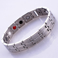 Wholesale stainless steel magnetic hematite bangle Bracelet with magnetic hematite bead Anti Fatigue Energy original color approx cm strand