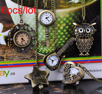 Wholesale 6pcs Vintage Style Cute Bronze Steampunk Quartz Necklace Pendant Chain Clock mini Pocket Watch