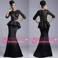 Wholesale Janique Peplum Evening Dresses Formal Crew Black Sheer Lace Applique Half Sleeves Satin Floor length Sexy Mermaid Prom Dresses JQ3408