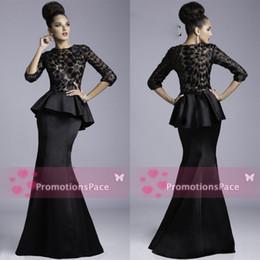 Wholesale Janique Peplum Evening Dresses Formal Crew Black Sheer Lace Applique Half Sleeves Satin Mermaid Mother Evening Prom Dresses JQ3408