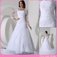 Wholesale Charming Custom Made Wedding Dress White Organza With Jacket A line Appliqued Lace Flowers Floor Length Bridal Gown