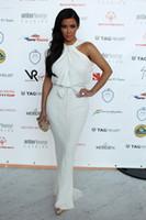 Reference Images Crew Chiffon Kim Kardashian Halter White Chiffon Mermaid Ruffles Floor Length Red Carpet Celebrity Dresses