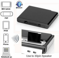 Wholesale 30pin Connector Wireless Stereo Bluetooth Music A2DP Audio Receiver for Apple iPhone iPad Pin Docking Speaker Adapter