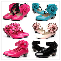 Wholesale EMS Spring Kids Dance Wear Lace Gauze Chiffon Flower Floral Rhinestones Peach Beads Dancing Shoes Children Girl Dress Shoe D2113