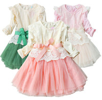 Wholesale Spring Fall Flower Girl Lace Dress Ribbon Net Yarn Long Sleeve Children Dress Baby Princess Dresses Korean Kid s Clothing QZ30