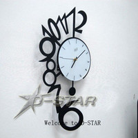Mechanical Wall Clocks Hebei China (Mainland) Free Shipping Creative Modern Art Large Numeric Pendulum Wall Clock Metal Decor Clock Black& Silver