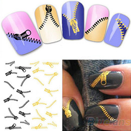 Wholesale Nail Art Water Transfers Stickers Decals Metallic Gold Sliver Funky Zipper Zips