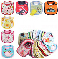 Wholesale 50 Style Cartoon Three Layered Cotton Baby Infant Sailva Towels Baby Waterproof Cotton Bibs Burp Cloths Mix Styles B2853