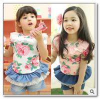 Girl sweet tee shirts - New summer printing T shirt girls lace falbala collar short sleeve tees Sweet kids floral princess tops children cotton t shirt