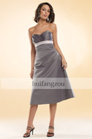 Wholesale 2014 Bridesmaid Dresses Eden Bridal Granite Blue Sweetheart Matte Satin Tea Length Pleated Backless Zipper Custom Made