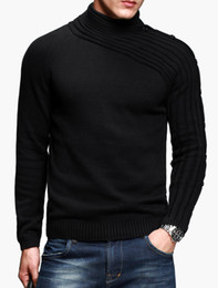 Wholesale Smart High Collar Pleated Solid Color Cotton Asymmetrical Men s Pullover Knitwear women sweater r79 u8 G1r