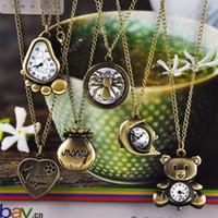 Wholesale New Cute Bronze Steampunk Quartz Necklace Pendant Chain Clock Pocket Watch