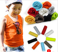 Unisex Summer 100% Cotton 2014 Summer Children Clothing Candy Colour Best Quality Baby Kids T Shirt Sleeveless Boy Girl Vest Tshirt Tank Tops Random Colour 20pcs lot