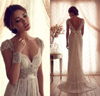 Wholesale Anna Campbell Classic Wedding Dresses A line V neck Sheer Lace Caped Sleeves Beaded crystal Bows Backless Bridal Dress DL10581