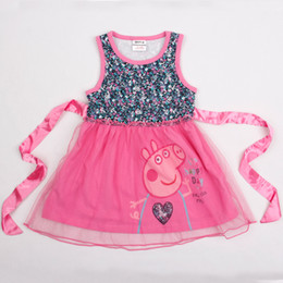 Wholesale H4680 Nova new fresh stock m y baby girls hot pink flower tank dresses cartoon peppa pig kids party lace dress children summer clothing