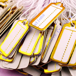 Drop Shipping Jewelry Tags Wholesale 2500pcs 22*10mm Golden Label Tie String Price Display Tags, Showcase Counter Jewelry Display Price Tag