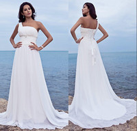 A-Line Reference Images One-Shoulder LQ White Long Simple One Shoulder Grecian Style Wedding Dresses Corset Back Design Chiffon Floor Length Fancy Bridal Dress Free Shipping