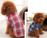 venda por atacado roupas para animais de verão-frete grátis Hot Pet Shop Dog Clothes clássico xadrez camisa cão de estimação roupas pet roupas para cães primavera e verão roupas CA019 comércio exterior