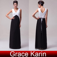 GK Stock Cheap Black and White Chiffon Bridesmaid Dresses Se...
