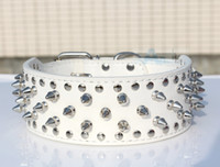 Wholesale New White color PitBull Mastiff Dog Collars Spiked Studded PU Leather Dog Pet Collars P62_W