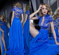 2014 royal blue high neck lace sheer evening dresses Sexy V ...