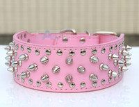 Wholesale New Pink color PitBull Mastiff Dog Collars Spiked Studded PU Leather Dog Pet Collars P62_E