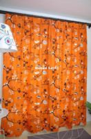 Wholesale Curtains for the Living Room Orange Base with Black Birds Print Blackout Curtain Fancy Window Curtains Two Panels