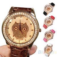 Women's gift items - Fashion Women Dress Girl s Champagne Analog Owl Crystal Decorated Quartz Wrist Watch Gift Items