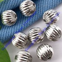 Wholesale DIY mm Silver Watermelon Ball Beads Spacer Fashion Jewelry Beads Spacers Jewelry Findings