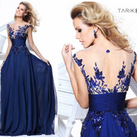 Wholesale 2014 Tarik Ediz Prom Dresses Gown Sheer Crew Neck Appliques Open Back Cap Sleeves Floor Length Chiffon Evening Gowns Formal Dresses