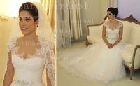 Wholesale 2014 vestido de noiva Sexy Sheer Cap Sleeves A Line Lace Wedding Dresses Tulle Applique Beach Garden Bridal Gowns With Beaded Sash BO1903