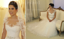 Wholesale 2014 vestido de noiva Sexy Sheer Cap Sleeves A Line Lace Wedding Dresses Tulle Applique Beach Garden Bridal Gowns With Beaded Sash BO1903
