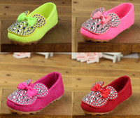 Wholesale 2014 Spring New Cute Cartoon Mouse Bowknot Rhinestones Bow Leisure Shoes Children Outewear Beaded Butterfly Rose Green Pink Red D2115