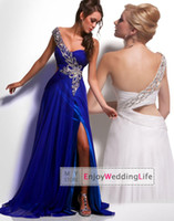 Wholesale 2014 New Sexy One Shoulder Blue Chiffon Prom Dresses Applique Beaded Ruffles Split Floor Length Evening Gowns a