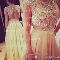 Cheap Reference Images 2014 prom dresses Best Crew Chiffon backless dresses