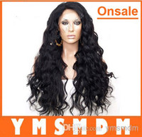 Black Body Wave Synthetic hair In Stock---Hot selling # 1b color natural black Synthetic Lace Front wig water wave cheap long wigs for american black women