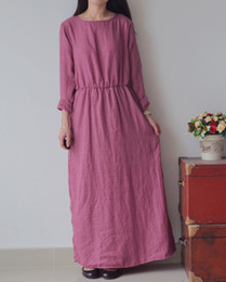 Wholesale 2014 Promotion Literature and Art Cotton Fibre National Style Ethnic Clothing Loosen Cotton High Slit with Button Women Fashion Dresses