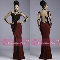 Wholesale Dress Janique Burgundy Evening Gowns Sheer Lace High neck Long Sleeves Chiffon Applique Side Slit Floor Length Sexy Prom Dresses K64041