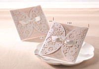 Wholesale White Wedding Invitations Hollow Foil Stamping Ribbon Wedding Gifts Lace Free Printable Cards Wedding Favors