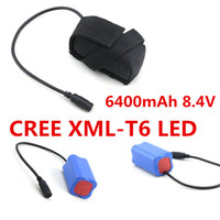 Wholesale Cheap mAh V Rechargeable Battery Pack for Bicyle Battery Pack for Bicycle LED Headlight Headlamp Battery Pack CREE XML T6 LED