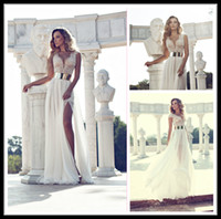 Model Pictures beach features - Julie Vino Fashion Wedding Dresses Cap Sleeve Gown Featuring Beaded Bodice With Plunging Neck Beaded Bodice Thigh High Slit Dress