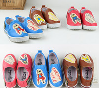 Spring / Autumn Round Toe  Korean Lovely Cartoon PSY Pattern Leisure Shoes Kids Clothes Letter GANGNAN Style Casual Outwear Boys Girls Shoe Brown Blue Red D2117
