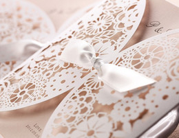 Wholesale Bulk New Promotion white Hollow Flower laser cut Wedding Invitation Card with Envelope Seal blank inside card