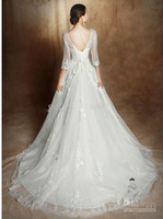 Wholesale 2014 Vogue Jewel Wedding Dresses Best Selling Lace Under Bridal Gowns Lace Applique Lace Up Beads Court Train Long Sleeve AD249