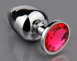 Wholesale Unisex Butt Toys Plug Anal Silver Insert Stainless Steel Metal Plated Jeweled Sexy Stopper