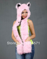 Wholesale 2013 New Designer Faux Fur Pink Fashion Winter Wolf Hat Beanie Cap Animal Hoodie Scarf Glove in Set