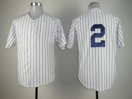 Wholesale Discount Baseball Jerseys Yankees Derek Jeter White Black Strip Cool Base Jerseys Mens Sports Jerseys Soft Baseball Uniform