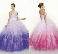 Model Pictures Strapless Crepe Vintage Colorful Rainbow Ball Gown Quinceanera Dresses Sheer Tulle Tiered Layers Backless Summer Beach Wedding Dresses Bridal Gown hsc-005