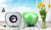 Wholesale Hot Sales LED lights crystal green red color apple speaker Mini Portable USB Speaker